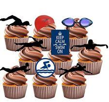Paquete de fiesta con temática de natación - 36 Comestible Stand Up Cup cake toppers decorations