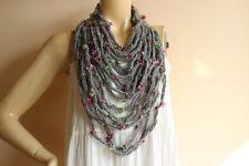 Grey Infinity Scarf -Grey Crochet Necklace-Chain crochet scarf with Flowers