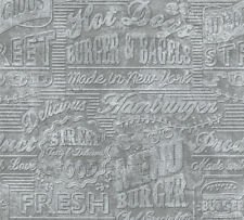 A.S. Kitchen Dreams 30664-1 Vlies Tapete Schriftzug Küche Vintage grau