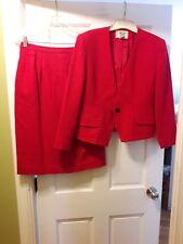 Saville Red Size 12 P  2 Piece Skirt & Jacket Suit Wool Blend