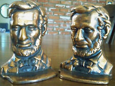 Cast Iron Brass? Copper?  Plated President Abraham Lincoln Bookshelf Book Ends