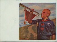 1932 USSR Soviet Boy Pioneer Blows Horn Unposted RARE RUSSIAN POSTCARD