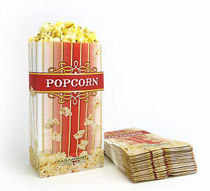 100 Popcorn Serving Bags, 'Large' Standalone Flat Bottom Paper Bag Style