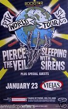 PIERCE THE VEIL / SLEEPING WITH SIRENS 2015 SAN DIEGO CONCERT TOUR POSTER -Metal
