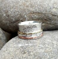 Solid 925 Sterling Silver Meditation Ring Statement Ring Spinner Ring Size sr422