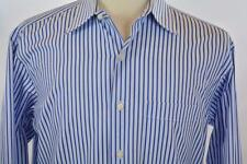 Tommy Bahama 15.5 Medium Blue Pencil Stripe Long Sleeve Dress Shirt Palm Beach