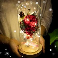 Glitter preserved fresh flower rose glass cover Glowing LED festival GIFT DECOR