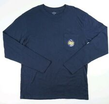 Men's Stafford Sleepwear Long Sleeve Shirt Navy Size Medium NWT