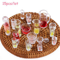 15Pcs 1:12 Scale Dollhouse Miniature Cup / Dish / Bowl Tableware Plate Set Toys~