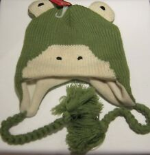 GREEN AND CREAM FROG HAT WITH EARS AND TIES BOY GIRL CHILD