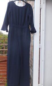 New Women's Boden Blue 3/4 Sleeve Wide Leg Jumpsuit Size UK 10R