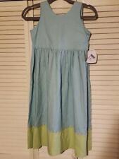 NWT Hartstrings Girls Blue & Green Linen Blend Sleeveless Dress Size 8 Easter