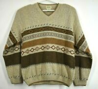 St Johns Bay Mens Brown Multi Print Sweater V Neck Long Sleeves Size Large