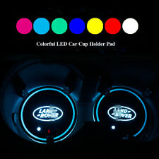 2PCS Colorful LED Car Cup Holder Pat Mats for Land Rover Auto Atmosphere Lights