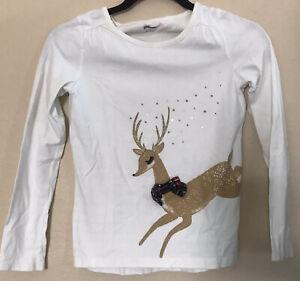 Girls Gymboree Christmas Reindeer white Long Sleeve Girls Size 12