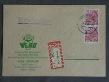 DDR MEF 2x30 Pfg Fünfjahrplan, Reco-Karte, VEAB Dresden N25a 18.4.59