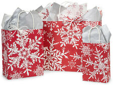 125 Winter Christmas Snowflakes Red Holiday Paper Shopping Gift Bags Assortment