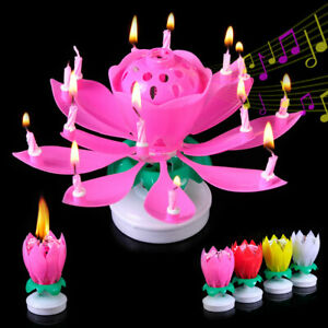 Birthday Party Musical Tune Rotating Lotus Candle Kids Adult