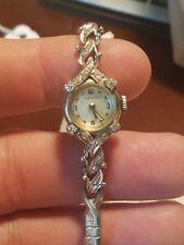 Extremely Rare Running Vintage Longines 14K White Gold Diamond Watch Ladies