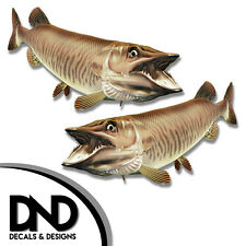 """Tiger Musky - Fish Decal Fishing Tackle Box Bumper Sticker """"5in SET"""" F-0900 D&"""