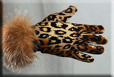New Leopard Print Gloves Crystal Fox Fur Trim - Touch Tech - One Size Fits All