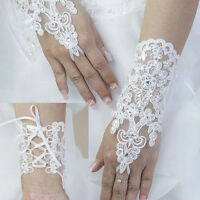 Hot Party Fingerless Lace Short Paragraph Rhinestone Bridal Wedding Gloves