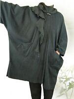 PoCo DeSiGn° LAGENLOOK Poncho Kurz-Mantel Cape schwarz Fleece L-XL-XXL-XXXL