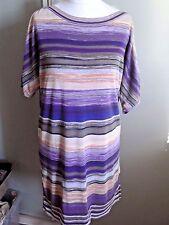 Monsoon Space Dye tunic  dress striped VGC Sz Medium fine knit 12 14 boho purple