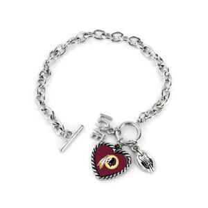 Washington Redskins Charmed Bracelet Love & Football [NEW] NFL Wrist Jewelry