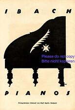 Ibach Pianos XL Reklame 1921 Werbung von Karl Sigrist Stuttgart Klavier Flügel