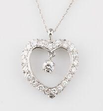 SPLENDIDO 14k oro bianco e diamanti Ciondolo a cuore centrale PENDENTE TDW =