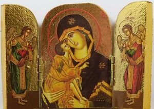 Wooden Orthodox Christian Icon Triptych The Theotokos Virgin Mary & Archangels