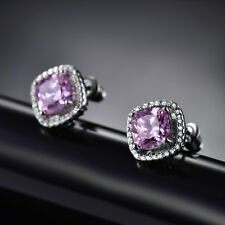 HUCHE Lovely Pink Diamond Sapphire Silver Gold Filled Lady Stud Wedding Earrings