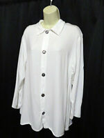 CP Shades White Button Front Tunic Top Blouse Boxy Top Rayon Sizse L Large