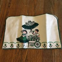 Vtg Toaster cover 100% linen green cream Flower cart boy girl floral umbrella