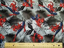 SPIDERMAN on gray background 100% COTTON Fabric FAT QTR - HUGE SALE!!!!!!!!!