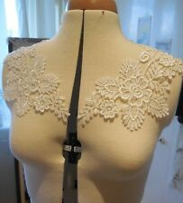 A pair of ivory floral collar lace appliques cotton collar lace motifs for sale