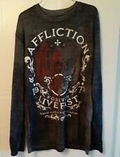 XL Affliction Mens Long Sleeve Thermal T-Shirt 1973 Forever Live Fast