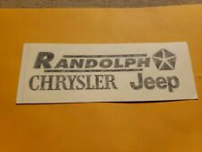 Randolph--Chrysler--Jeep--Dealer Advertising Sticker Decal