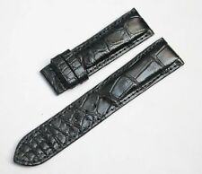 BLACK ALLIGATOR, CROCODILE LEATHER SKIN WATCH STRAP BAND 20mm/18mm