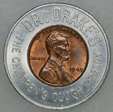 1949 Lincoln Wheat Encased Cent Dr.Drakes Cough Remedy