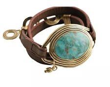 New Barse Art Smith Turquoise Leather Wrap Bracelet