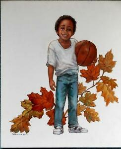 AFRO-AMERICAN BOY with BASKETBALL OIL PAINTING by SIMMONS 1995