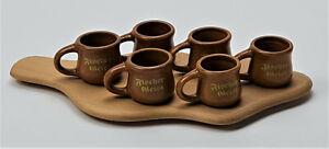 Fischergeist Serviertablett Holz mit 6 feuerfesten Keramikkrügen Bar (7036-1)