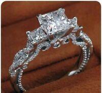 14k White Gold Finish 1.50 Ct Princess Cut Diamond Three Stone Engagement Ring