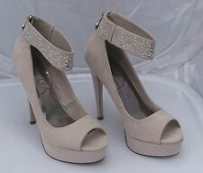 c0894c804428 Lipsy Nude Faux Suede Platform Peep Toes with Jewelled Ankle Strap Size 7 40