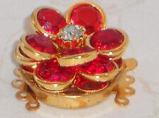 Vintage Clasp Swarovski Elements Red Five Strand Bracelet Necklace #1059F