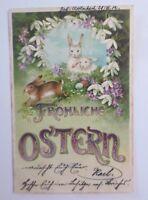 Pascua, Liebres, Campanilla de las Nieves, Huevos 1902 , Postal Relieve (68098)