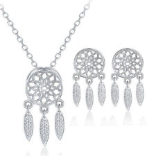 Vintage 925 Sterling Silver Jewelry Set Dreamcatcher Earrings Pendant Necklace