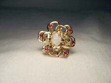 Magnificent Estate 14K Yellow Gold Filigree Ruby Opal Flower Floral Ring